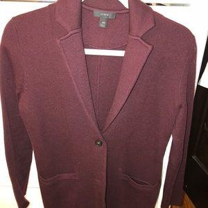 J. Crew burgundy sweater blazer